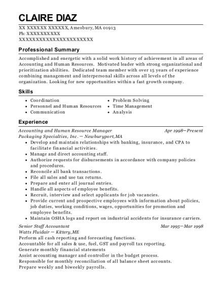 Accounting and Human Resource Manager resume template Massachusetts