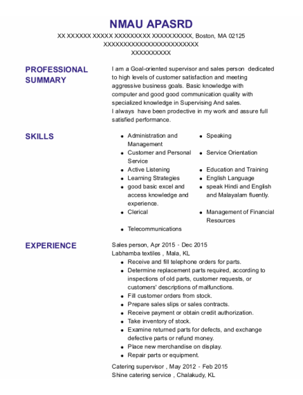 Sales person resume template Massachusetts