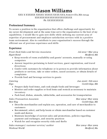 Front Desk Sales and Service Associates resume template Massachusetts