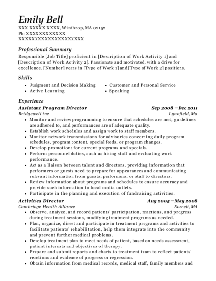 Assistant Program Director resume template Massachusetts