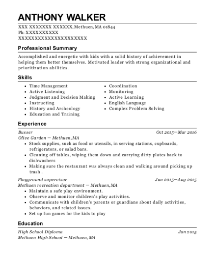 Busser resume template Massachusetts