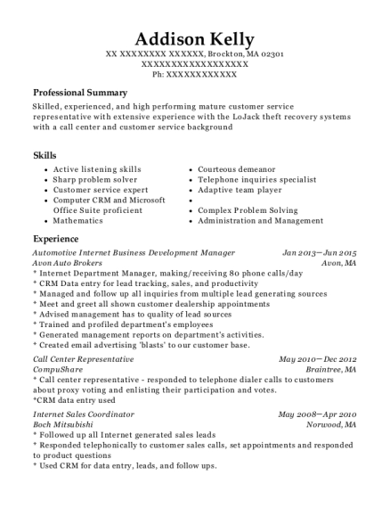 Automotive Internet Business Development Manager resume sample Massachusetts