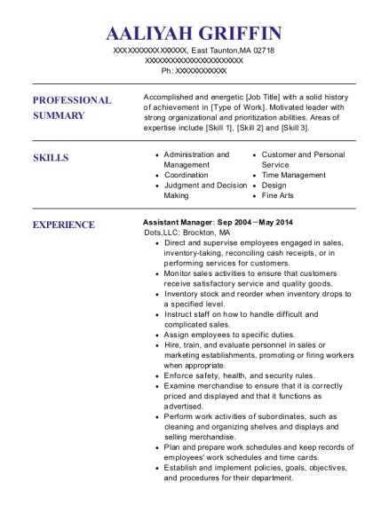 Assistant Manager resume example Massachusetts