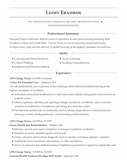LPN Charge Nurse resume format Massachusetts
