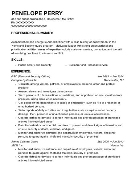 PSO resume example Massachusetts