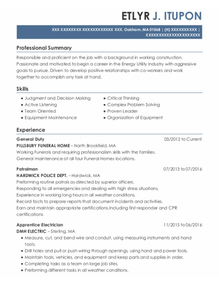 Patrolman resume format Massachusetts