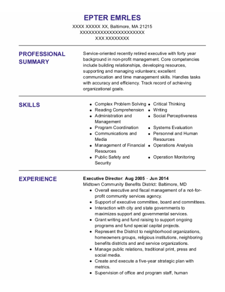 Executive Director resume sample Massachusetts