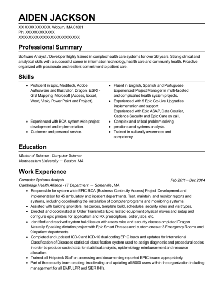 Computer Systems Analysts resume example Massachusetts