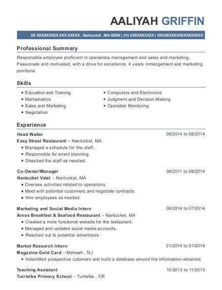 Head Waiter resume template Massachusetts