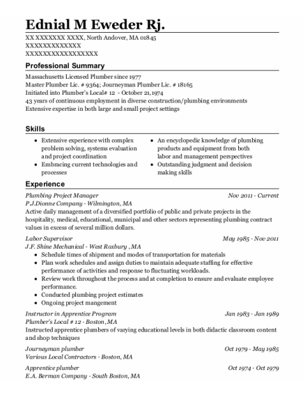 Journeyman Plumber resume example Massachusetts