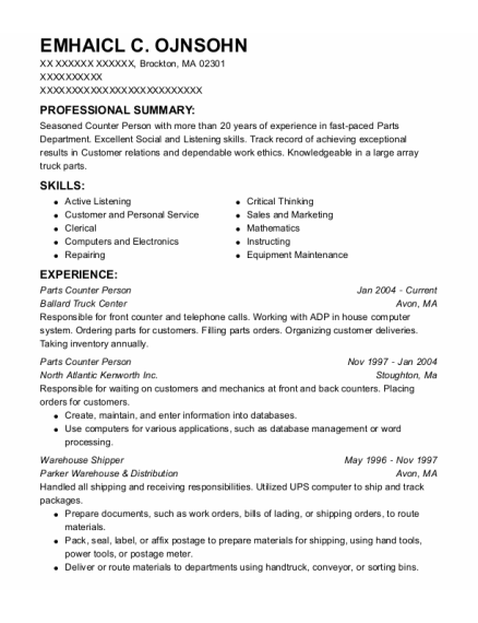 Parts Counter Person resume example Massachusetts