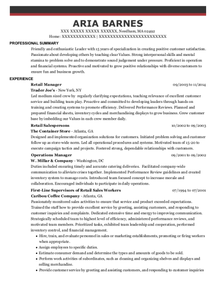Retail Manager resume example Massachusetts