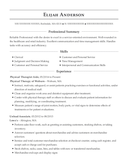 Physical Therapist Aide resume template Massachusetts