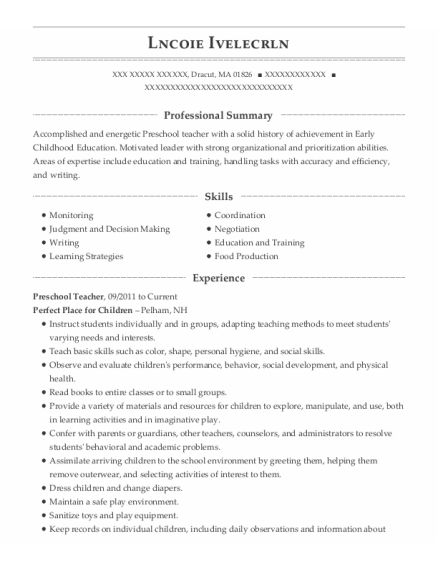 Preschool Teacher resume format Massachusetts