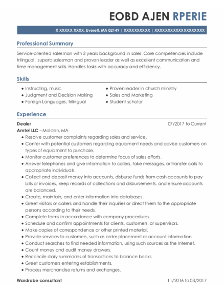 Dealer resume template Massachusetts