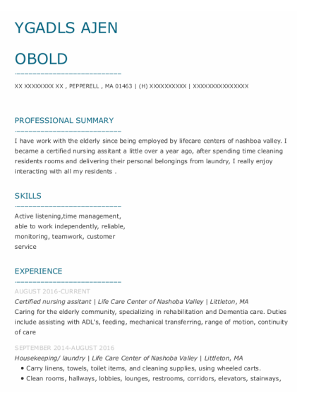 Certified Nursing Assitant resume sample Massachusetts