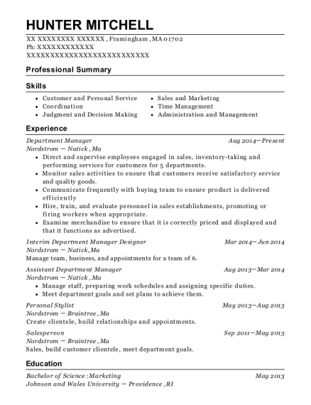 Department Manager resume sample Massachusetts