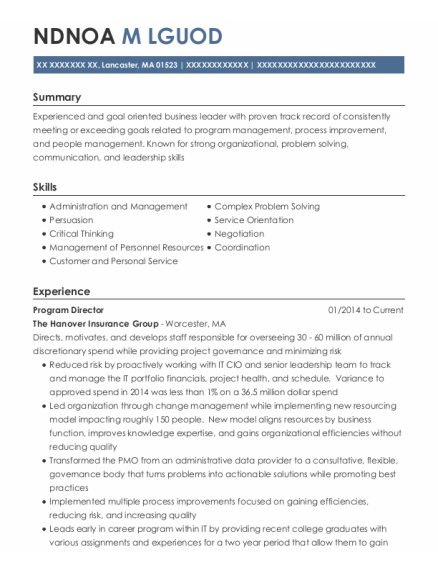 Program Director resume template Massachusetts