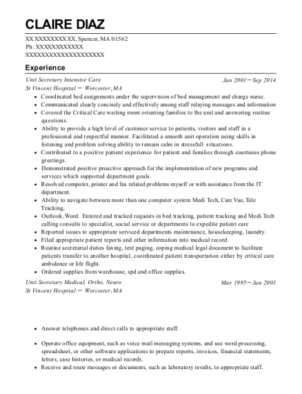 Unit Secretary Intensive Care resume template Massachusetts