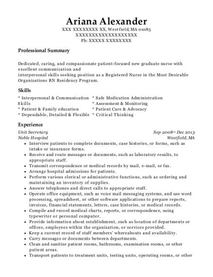 Unit Secretary resume example Massachusetts