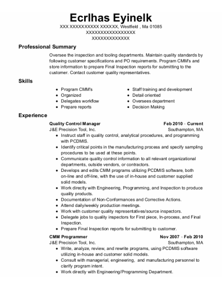 Quality Control Manager resume example Massachusetts
