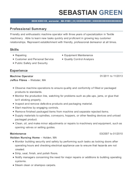 Machine Operator resume template Massachusetts