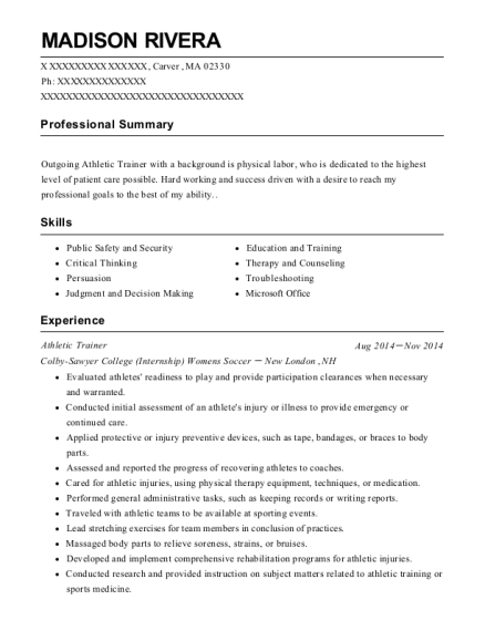 Athletic Trainer resume format Massachusetts