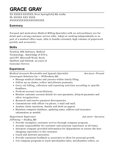 Medical Accounts Receivable and Appeals Specialist resume sample Massachusetts