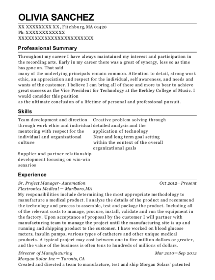 Sr Project Manager Automation resume example Massachusetts