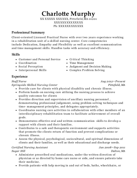 Staff Nurse resume template Massachusetts