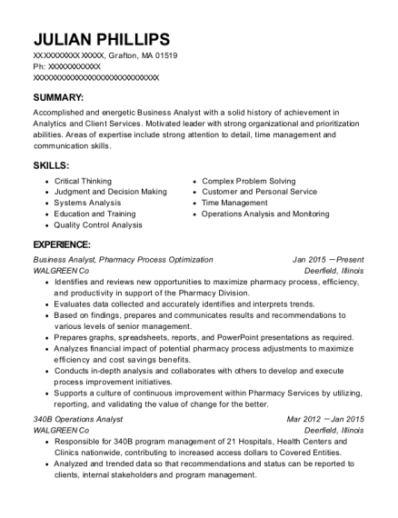 Business Analyst resume example Massachusetts