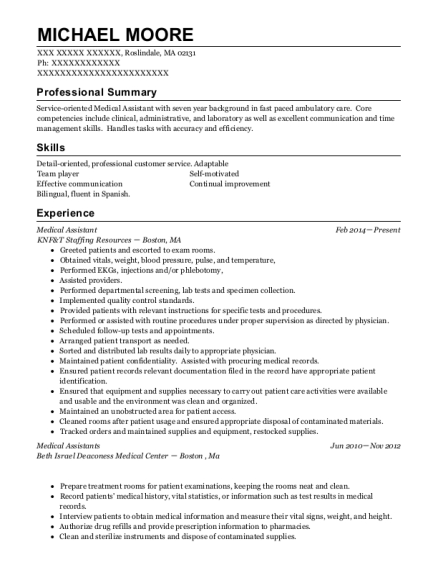 Medical Assistant resume template Massachusetts