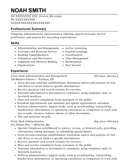 Front Desk Administration and Management resume template Massachusetts