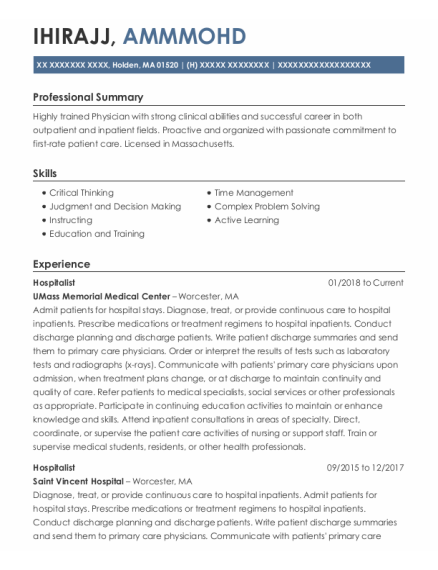 Intern resume template Massachusetts