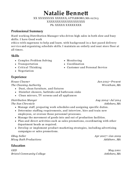 House Cleaner resume sample Massachusetts