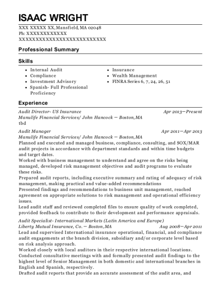 Audit Director US Insurance resume sample Massachusetts