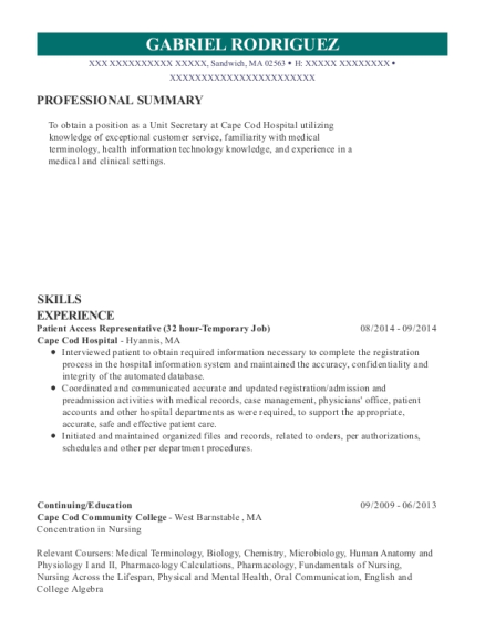 Patient Access Representative resume format Massachusetts