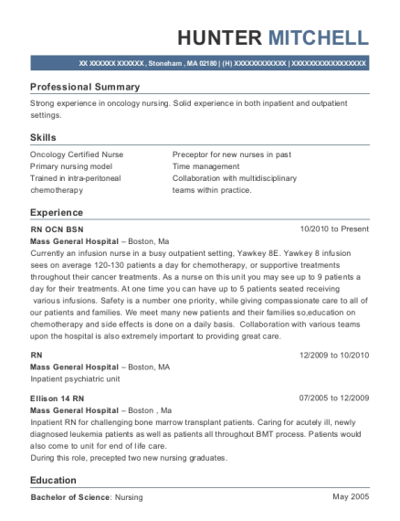 RN OCN BSN resume sample Massachusetts