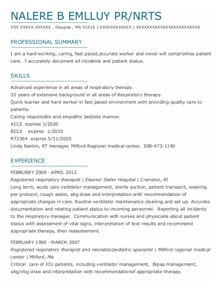 Registered Respiratory Therapist resume sample Massachusetts