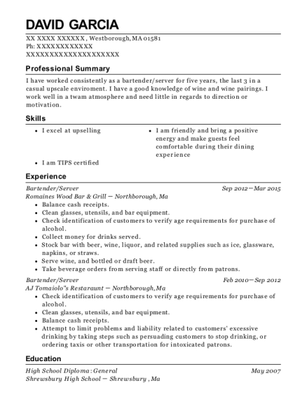 Bartender resume format Massachusetts