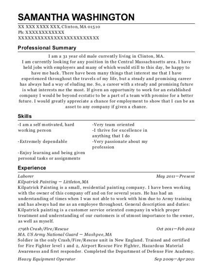 Laborer resume template Massachusetts