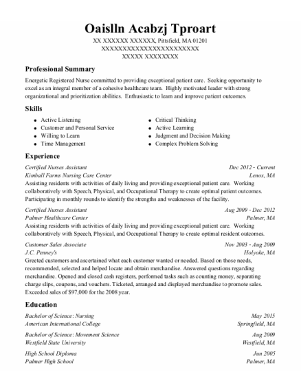 Certified Nurses Assistant resume example Massachusetts
