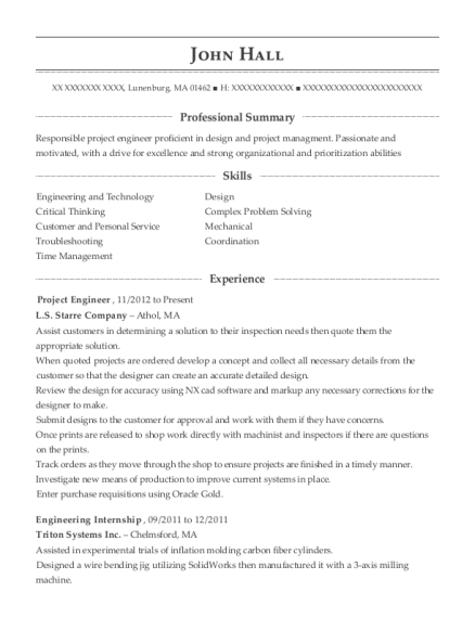 Project Engineer resume sample Massachusetts
