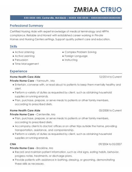 comforcare senior services home health care aide resume