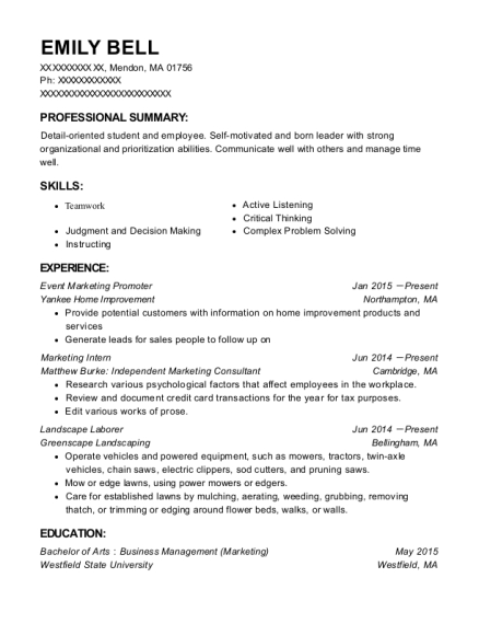 Event Marketing Promoter resume format Massachusetts