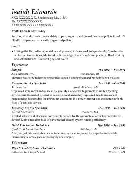 Lumper resume format Massachusetts
