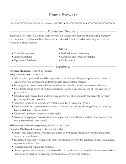 Kitchen Manager resume format Massachusetts