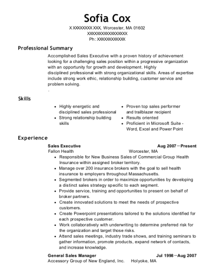Sales Executive resume example Massachusetts
