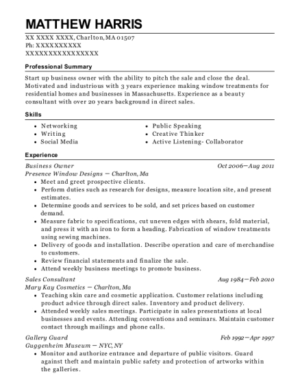 Business Owner resume template Massachusetts