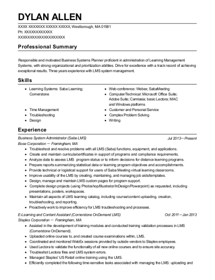 Business System Administrator resume example Massachusetts